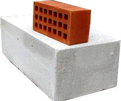 Размер блока газобетона по отношению к кирпичу
